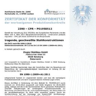 Zertifizierungsurkunde nach EN 1090-2 in EXC3 © Ziegler Stahlbau